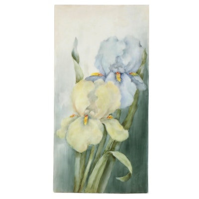 Helen McCoy Floral Porcelain Painting of Irises