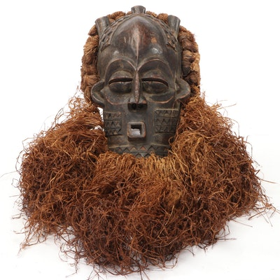 Biombo Style Carved Wood Mask with Raffia, Kasai Province