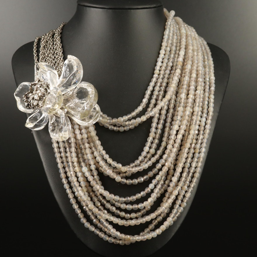 Alexis Bittar Multi-Strand Flower Necklace with Chalcedony