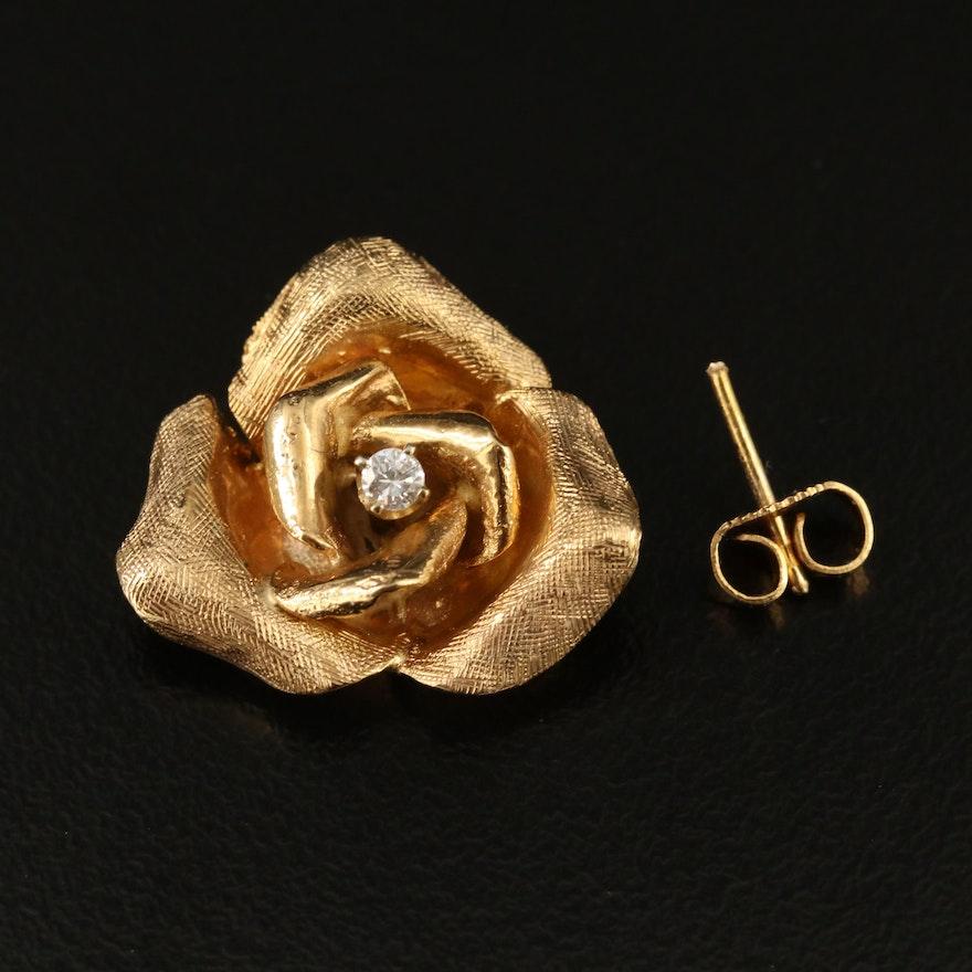 14K 0.05 CT Diamond Solitaire Single Scrap Earring
