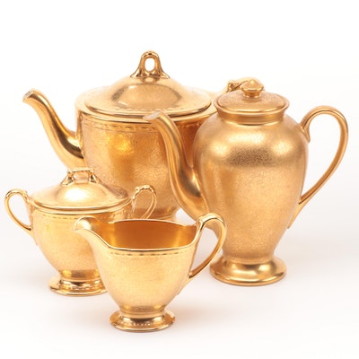 Wheeling Decorating Gilt Ceramic Teapot, Coffee Pot with Creamer and Sugar