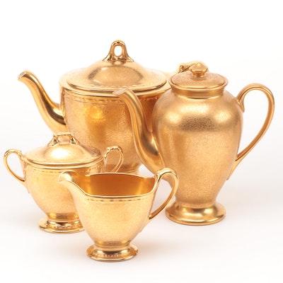 Wheeling Decorating Gilt Ceramic Teapot, Coffee Pot with Creamer and Sugar