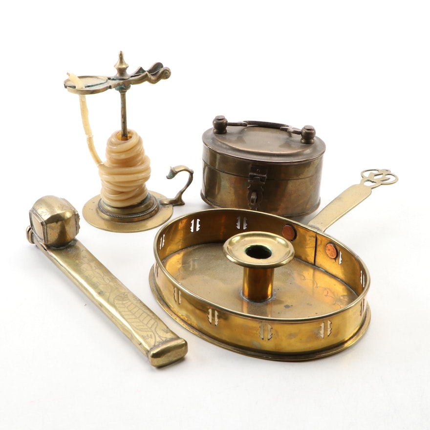 Brass Chamberstick and Spiral Candle Holder with Qalamden and Box