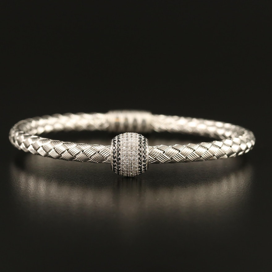Sterling Silver Woven Bracelet with Pavé Black Spinel and Cubic Zirconia