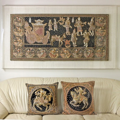 Indian Pictorial Embroidered Textile Wall Hanging with Accent Pillows