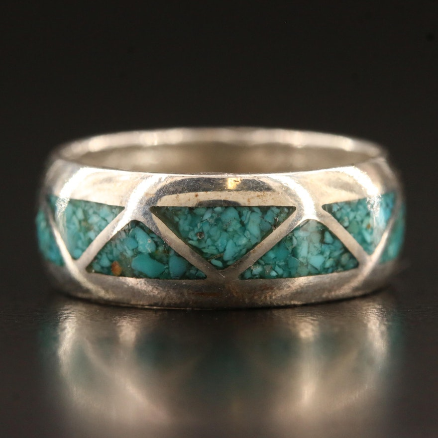 Sterling Inlaid Turquoise Band