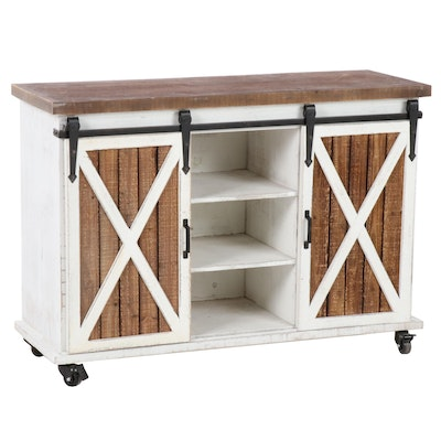 Sliding Barn Door Island Cabinet on Wheels, Contemporary