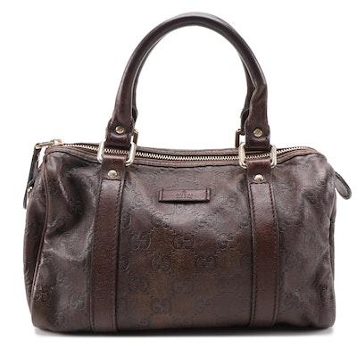 Gucci Guccissima Small Joy Boston Bag in Dark Brown Leather