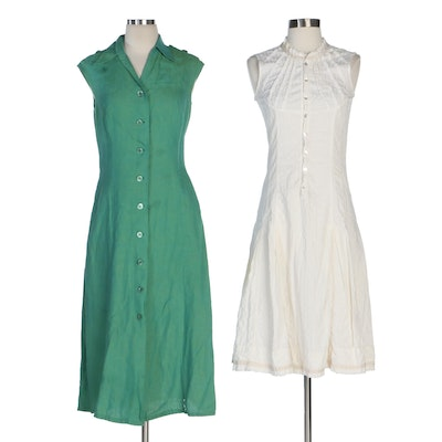 Escada and Gary Graham Button-Front Dresses in Linen and Cotton Blend