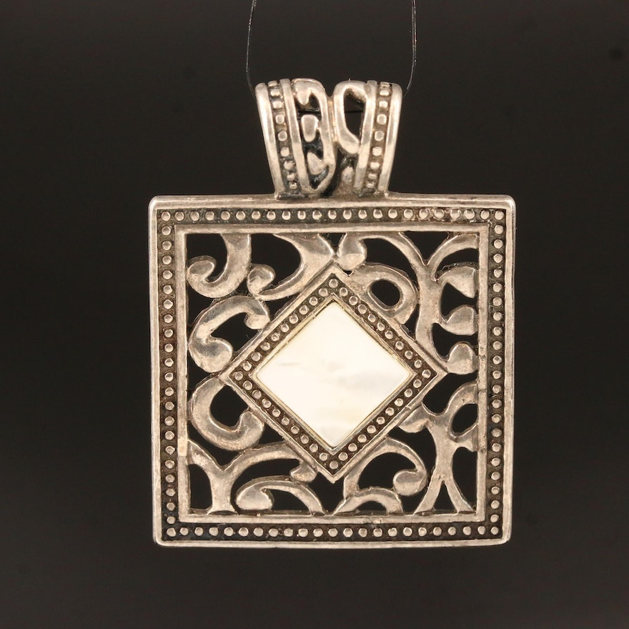 Square Sterling Silver Openwork Mother of Pearl Slide Pendant