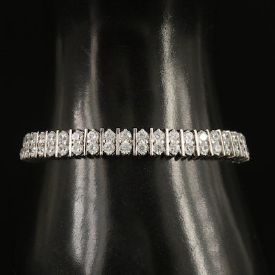 Sterling Silver Double Row Cubic Zirconia Bracelet