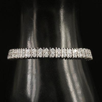 Sterling Silver Double Row Cubic Zirconia Bracelet