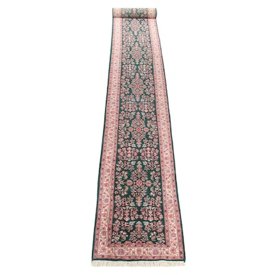 2'6 x 20' Hand-Knotted Indo-Persian Sarouk Rug Runner, 2000s
