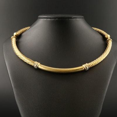 """David Yurman """"Metro"""" 18K Diamond Hinged Collar"""