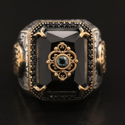 Sterling Glass, Black Spinel and Cubic Zirconia Ring with Scroll Detail