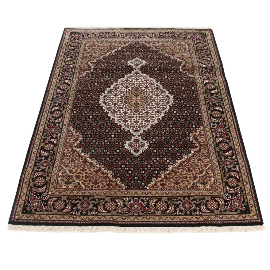 4'1 x 6'1 Hand-Knotted Indo-Persian Wool and Silk Rug, 2010s