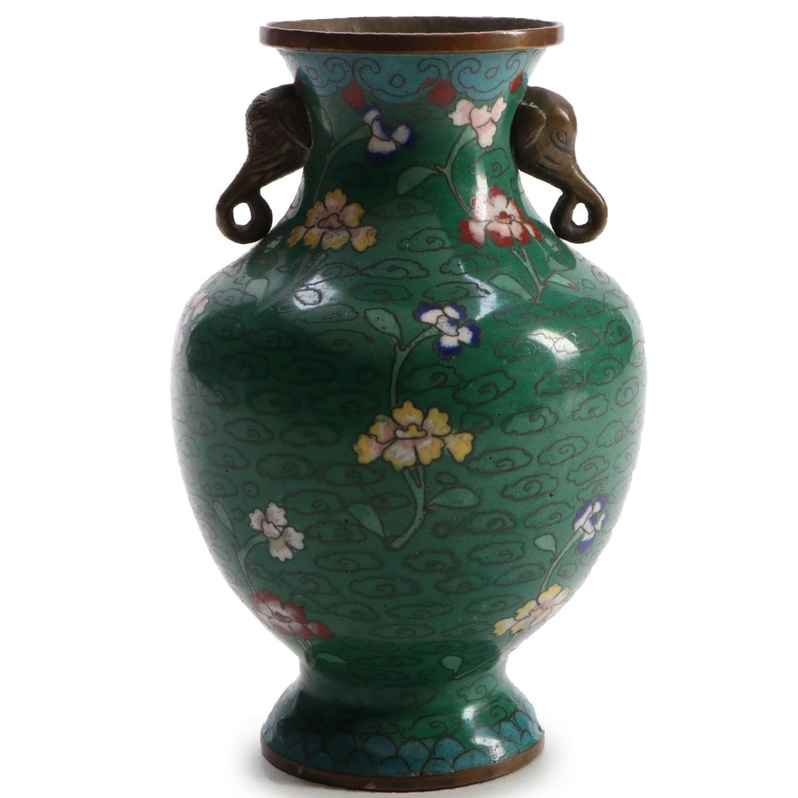 Chinese Cloisonné Floral Motif Vase with Elephant Head Handles