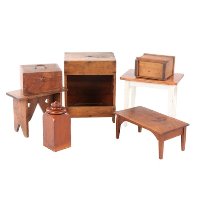 American Primitive Style Wooden Decorative Accents Including Stools and Boxes