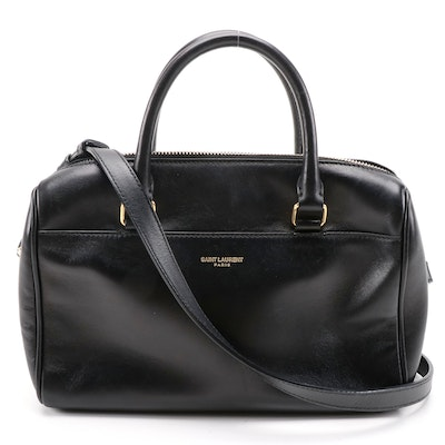 Saint Laurent Classic Baby Duffle Bag in Black Leather