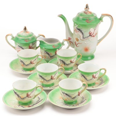 Japanese Porcelain Moriage Dragon Ware Tea Set, Mid-20th Century