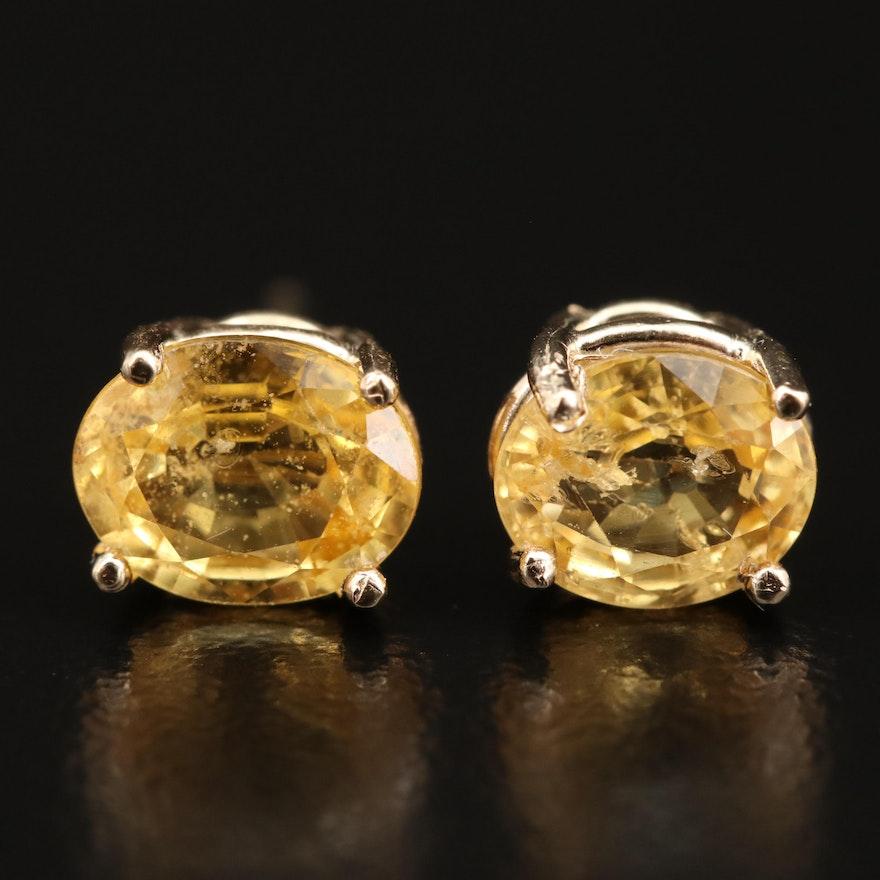 14K Yellow Sapphire Stud Earrings