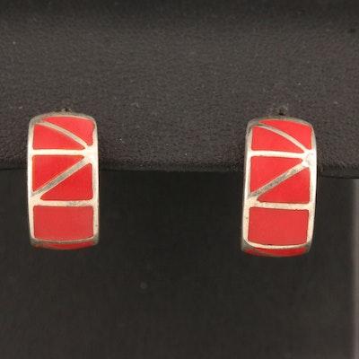 Sterling Silver Red Resin Inlay J-Hoop Earrings