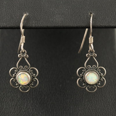Sterling Opal Filigree Dangle Earrings