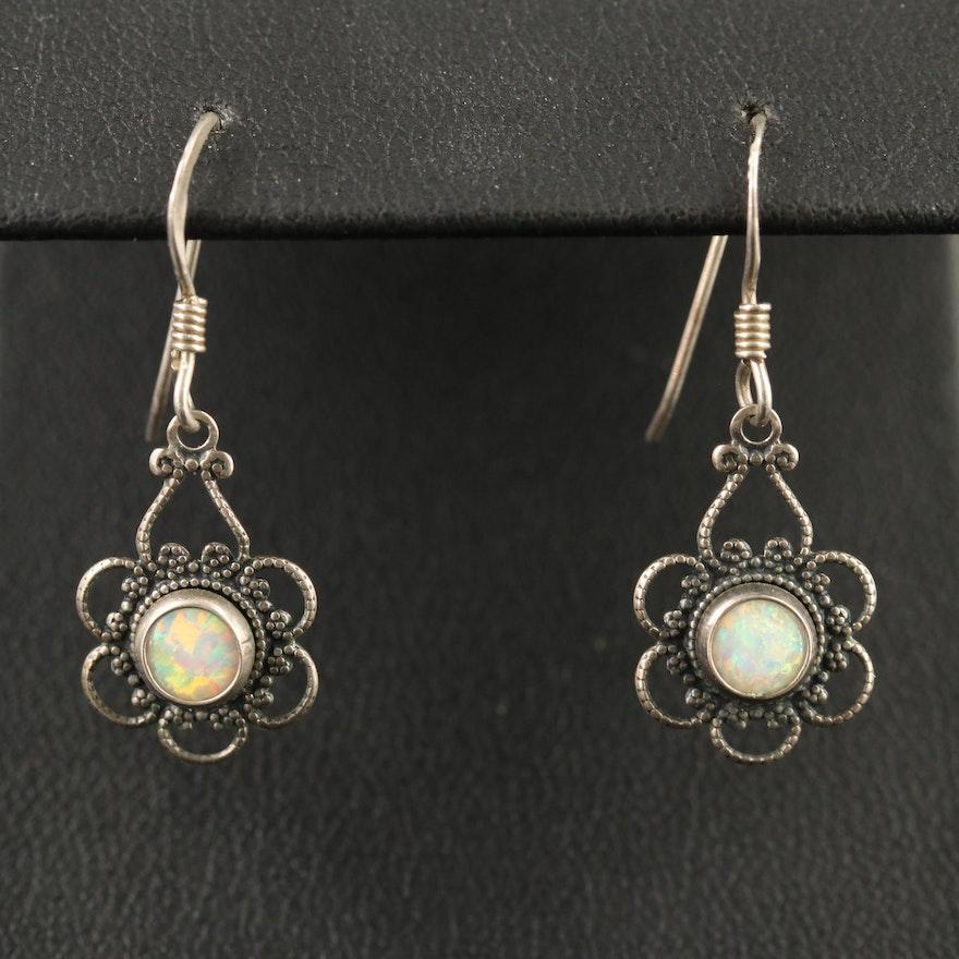 Sterling Opal Filigree Dangle Earrings