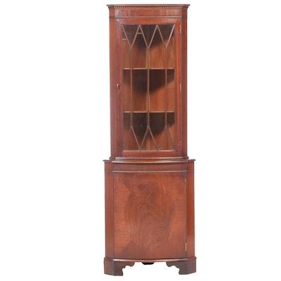 George III Style Mahogany Corner Cabinet, Late 20th Century