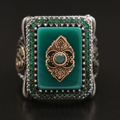 Chalcedony and Cubic Zirconia Ring with Scrolled Design