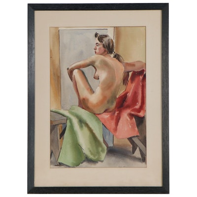 Becky Eiles Watercolor Painting of Seated Figured, Late 20th Century