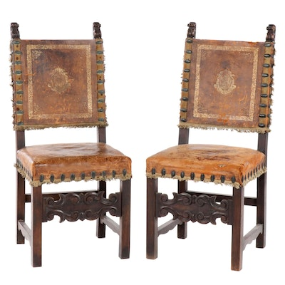 Italian Walnut Chairs with Embossed Hide Back, Early 20th Century