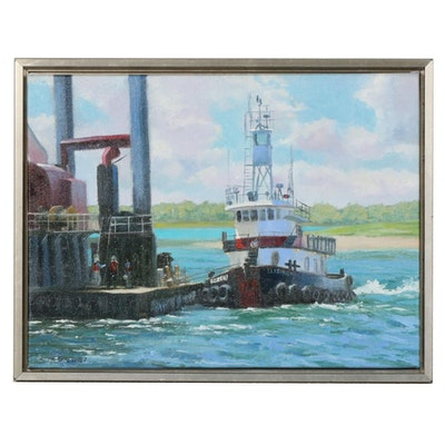 "Marcus Brewer Oil Painting ""Dredging with Elizabeth"""