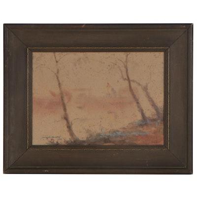 Yamada Baske Watercolor Landscape Painting, 1922