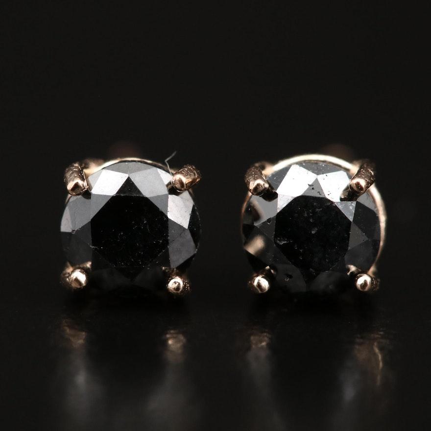 Rose 14K Gold 0.80 CTW Diamond Solitaire Earrings
