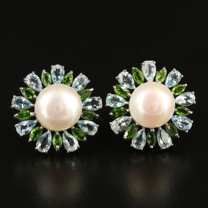 Sterling Pearl, Aquamarine and Diopside Button Earrings