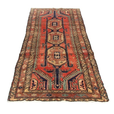 4'1 x 9'7 Hand-Knotted Northwest Persian Pictorial Wide Runner, 1950s