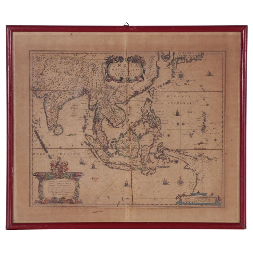 Peter Schenk and Gerard Valk Colored Engraving Map of India, Circa 1695