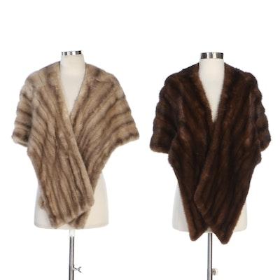 Mink Fur Stoles in Grey Mink and Brown Mink Fur, Vintage