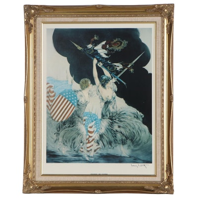 "Offset Lithograph after Louis Icart ""Courage, My Legions"", 20th Century"