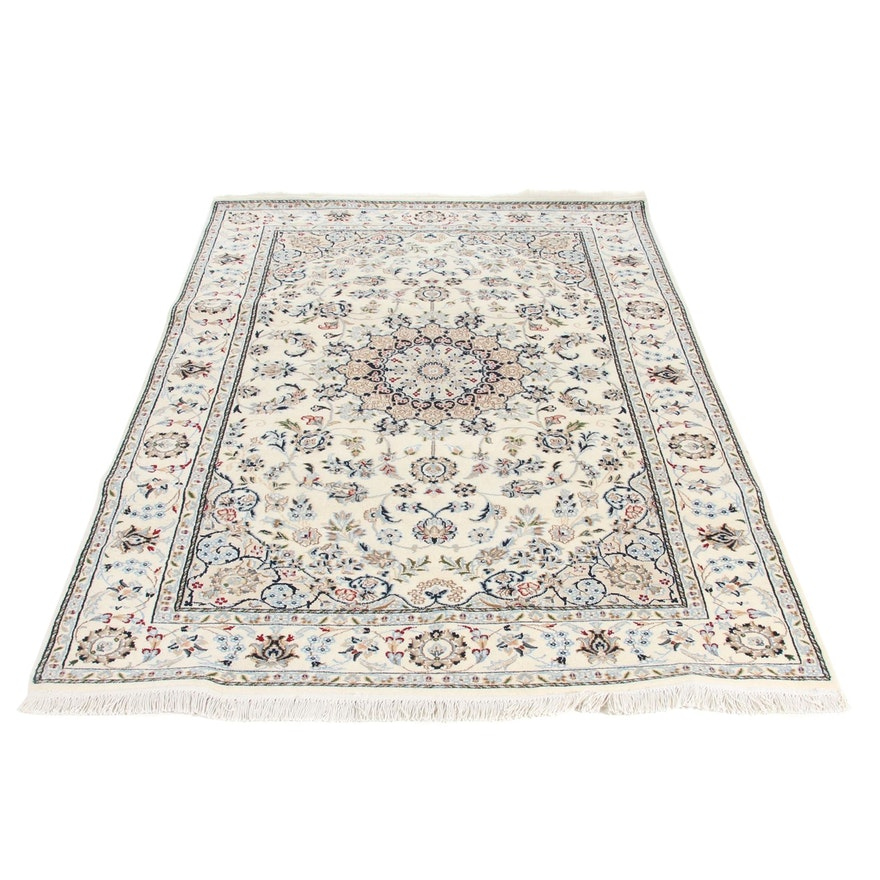 5'5 x 8' Fine Hand-Knotted Persian Nain Silk and Wool Rug, 2000s