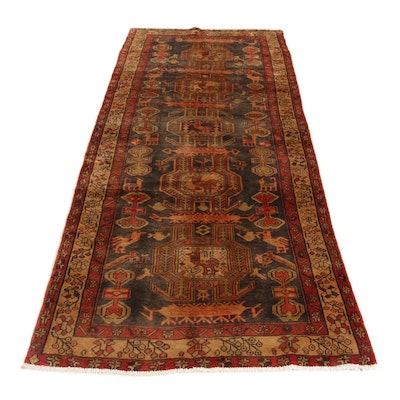 3'8 x 9'4 Hand-Knotted Northwest Persian Pictorial Wide Rug Runner, 1960s