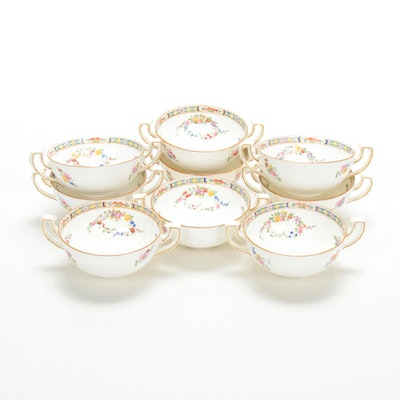 Minton Cream Soup Bowls with Floral Motif, Early to Mid 20th Century