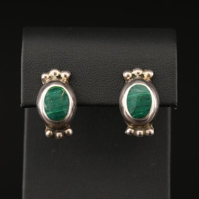 Mexican Sterling Silver Faux Malachite Earrings