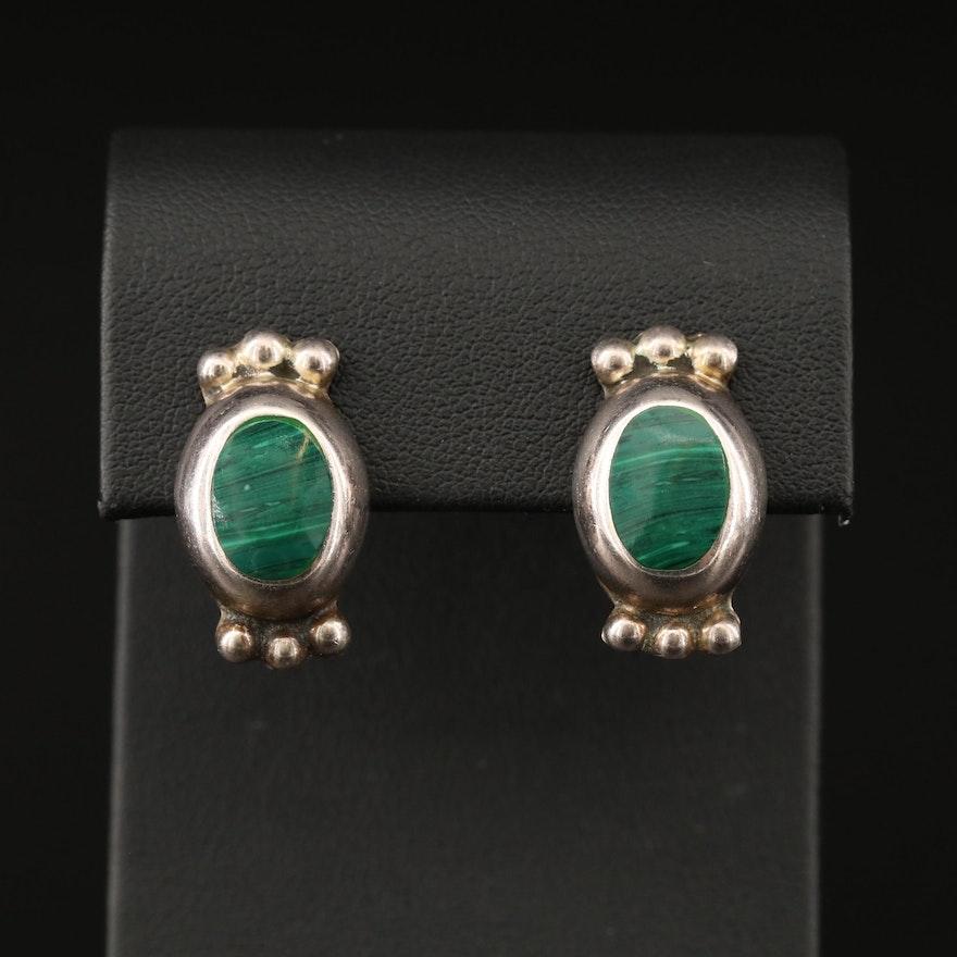 Mexican Sterling Silver Faux Malachite Earrings