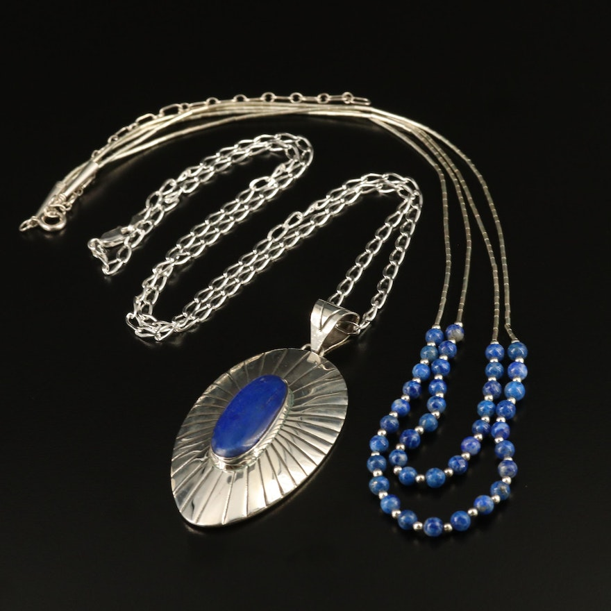 Sterling Silver Lapis Lazuli Necklaces Featuring Mexican Made Piece