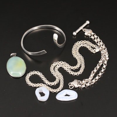 Sterling Silver Bracelet, Necklace, Pendant and Polished Geode Slices