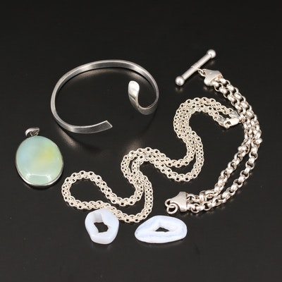 Sterling Silver Bracelet, Necklace, Pendant and Polished Geode Slices