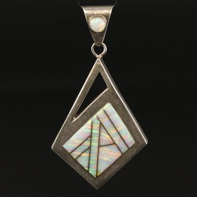 Western Sterling Silver Geometric Opal Pendant