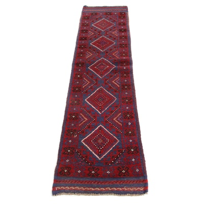 1'10 x 8'5 Hand-Knotted Afghani Turkoman Rug Runner, 2000s